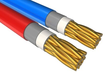 High voltage power cable close-up photo