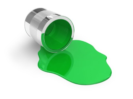 paint can: Green spilled paint Stock Photo