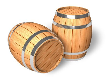 bottled beer: Two wooden barrels Stock Photo