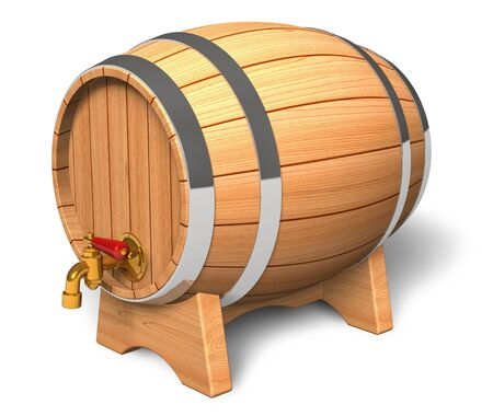 bottled beer: Wooden barrel with valve Stock Photo