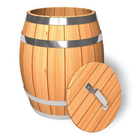 Opened wooden barrel photo