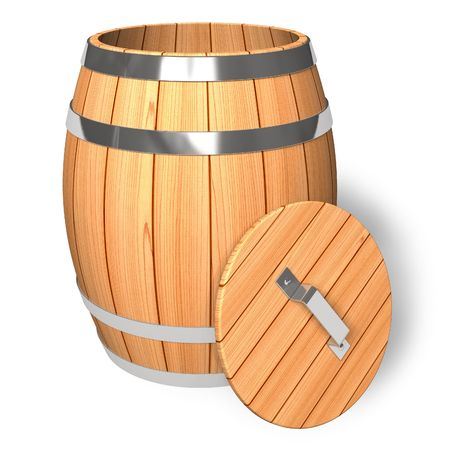 wooden lid: Opened wooden barrel