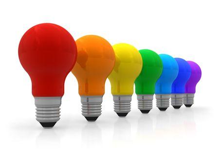 effizient: Zeile der Regenbogen Gl�hbirnen Lizenzfreie Bilder