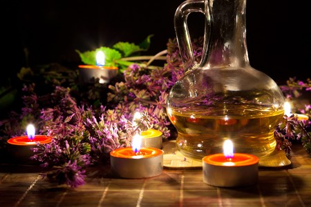 Tea candles, oil and lavender Stock Photo - 7298721