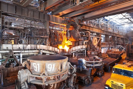 Open-hearth shop of metallurgical plant photo
