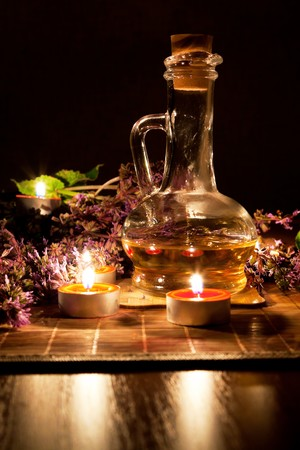 Tea candles, oil and lavender photo