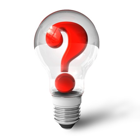 environmental issues: Question mark in lightbulb Stock Photo