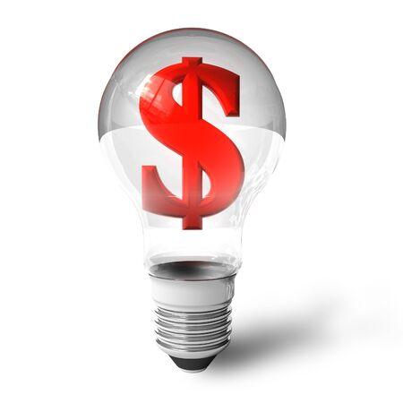 Dollar sign in lightbulb photo