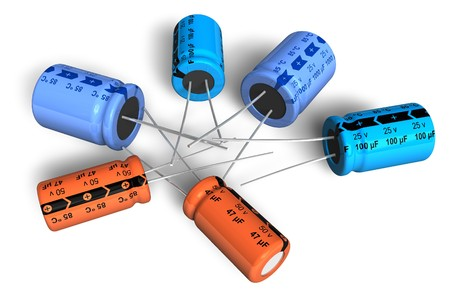 electronic device: Electrolytic capacitors Stock Photo