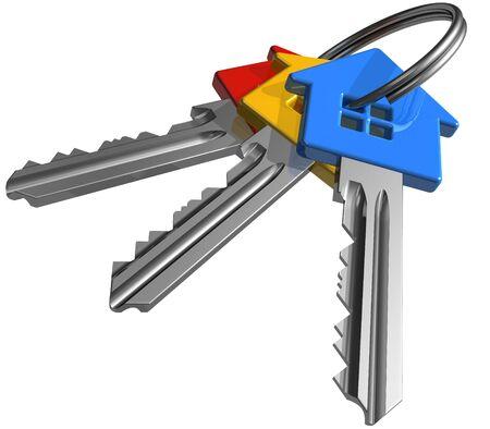 set of keys: Bunch of color house-shape keys Stock Photo