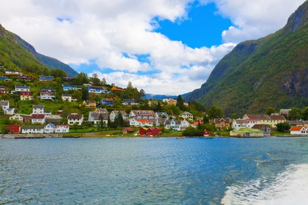 fjords: Mountain village in fjords, Norway Stock Photo