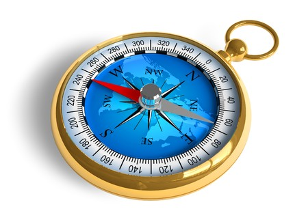 magnetic north: Golden compass Stock Photo