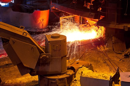 Liquid metal from blast furnace photo