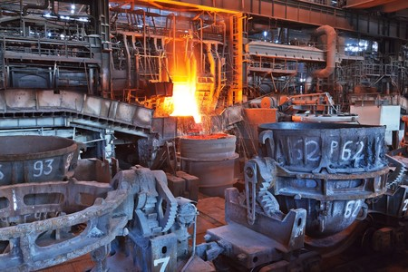 Open-hearth workshop of metallurgical plant photo