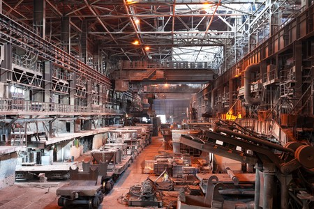 Interior of metallurgical plant workshop photo