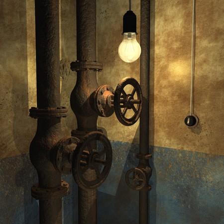water closet: Grunge interior