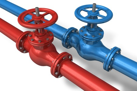 gas distribution: Red and blue pipelines