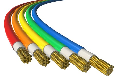 high voltage: Color power cables Stock Photo