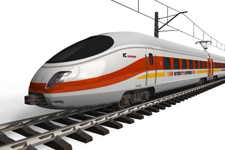 train tracks: Modern high speed train