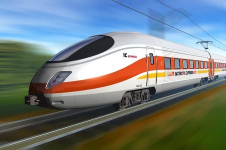 estacion tren: Tren de alta velocidad moderna  Foto de archivo
