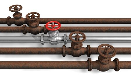 gas distribution: New pipeline within rusty ones Stock Photo