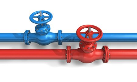 hot water tap: Red and blue pipelines