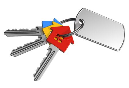 set of keys: Bunch of keys with label Stock Photo