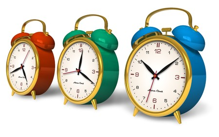 Color vintage alarm clocks photo