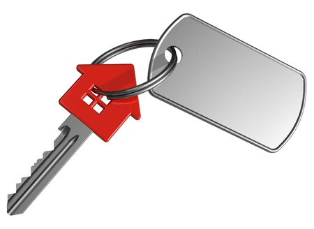 Red house-shape key with label Stock Photo - 7930047