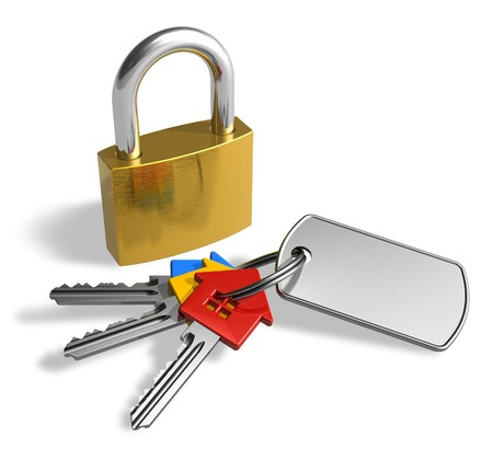 Padlock with bunch of keys photo