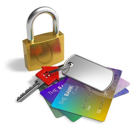 Padlock, key and credit cards photo
