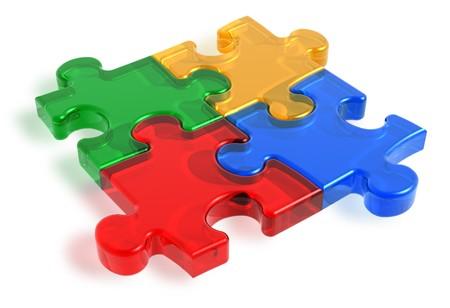 piezas de rompecabezas: Piezas de un rompecabezas color  Foto de archivo