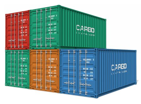 container port: Set of cargo containers Stock Photo