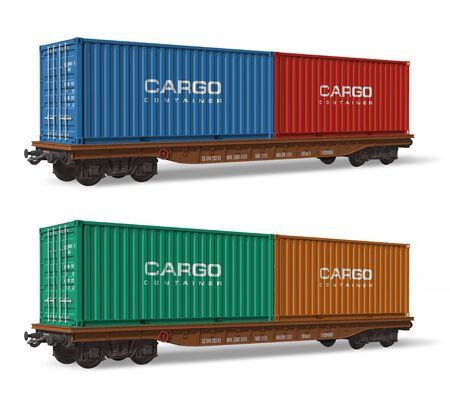 boxcar train: Railroad flatcars with cargo containers
