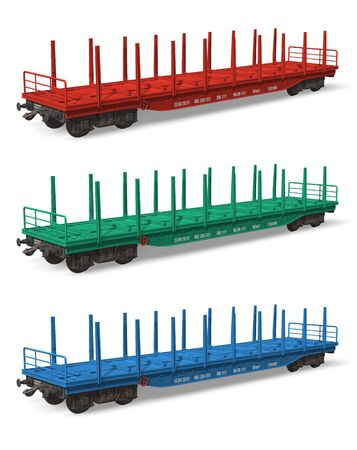 Set of railroad flatcars photo