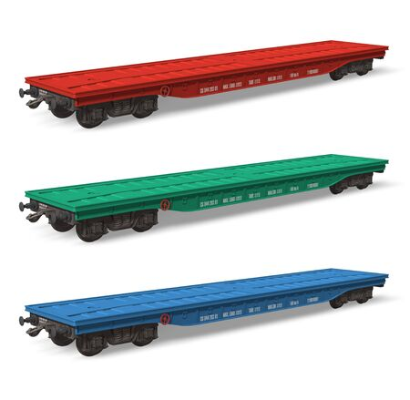 Set of railroad flatcars Stock Photo - 7946986