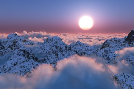 beyond: Mountain sunset beyond the clouds