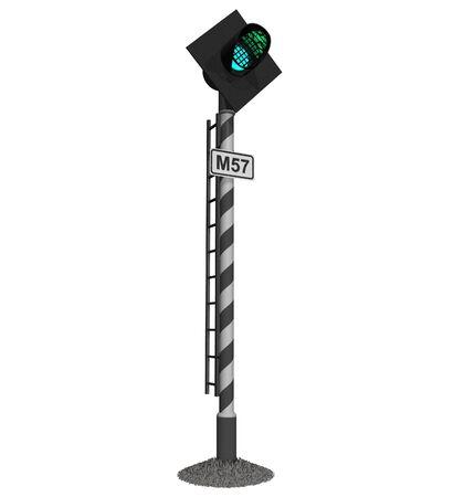 signal pole: Railroad traffic light