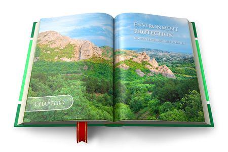 educacion ambiental: Libro de protecci�n del medio ambiente  Foto de archivo