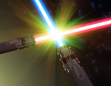 Battle with light sabers photo
