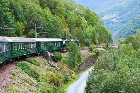 across: By the train across Scandinavian mountains Stock Photo
