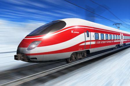Winter high speed train photo