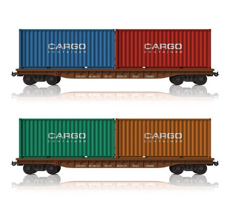 goods train: Railroad flatcars with cargo containers