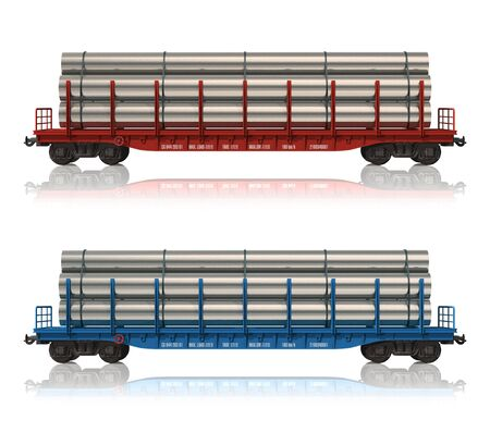flatcar: Railroad flatcars with pipes
