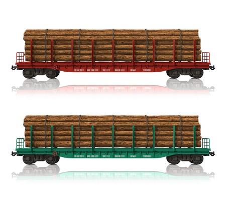 flatcar: Railroad flatcars with lumber Stock Photo