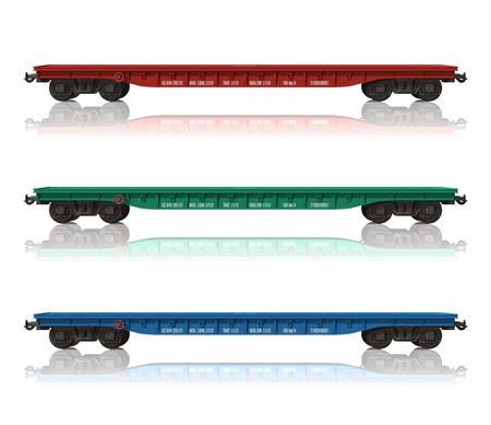 boxcar train: Set of railroad flatcars