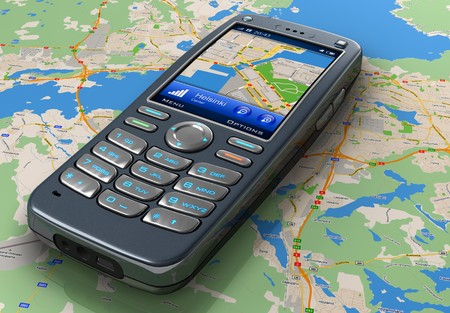 global positioning system: Mobile phone with GPS navigation on map  Stock Photo