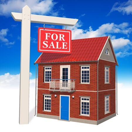'For sale' sign in front of new house Stock Photo - 8325713