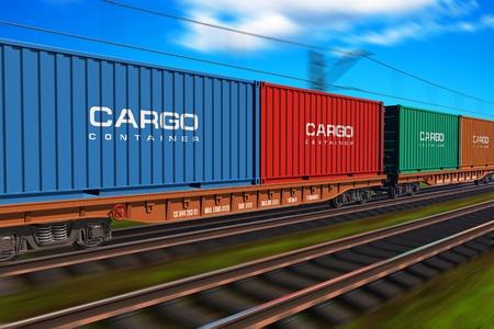 freight container: Trenes de carga con contenedores de carga Foto de archivo