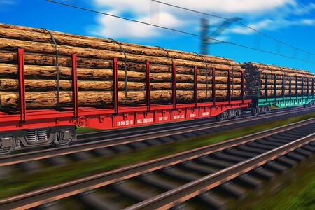 Freight train with lumber photo